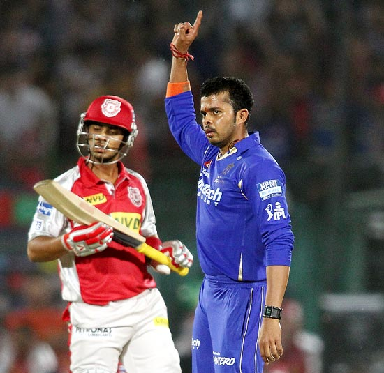 S Sreesanth celebrates getting the wicket of Mandeep Singh