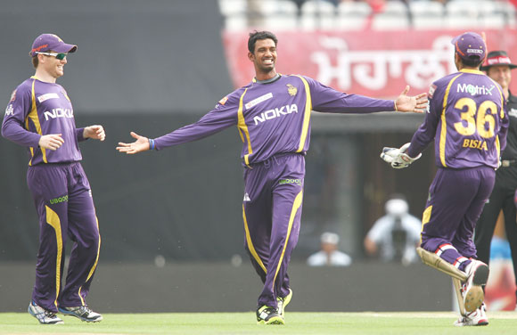 Sachithra Senanayake of Kolkata Knight Riders celebrates after trapping Kings XI Punjab captain Adam Gilchrist leg before