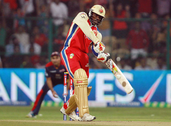 Chris Gayle hits the first six of the innings
