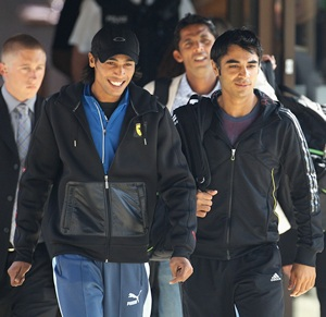 Mohammad Amir, Mohammad Asif (centre) and Salman Butt after a court hearing in London