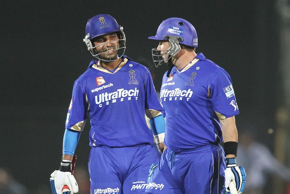 Ajinkya Rahane of Rajasthan Royals and Brad Hodge