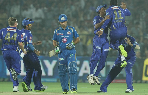 Rajasthan Royals' Ajit Chandila celebrates after dismissing Ponting