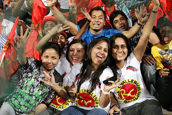 Royal Challengers Bangalore (RCB) supporters during the match between RCB and Delhi Daredevils in Bangalore on Tuesday