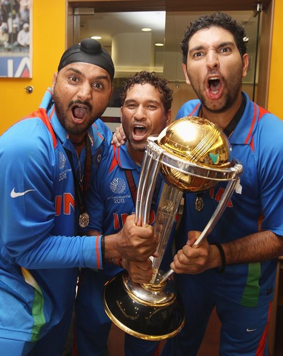 Harbhajan Singh (left),Sachin Tendulkar (centre) and Yuvraj Singh