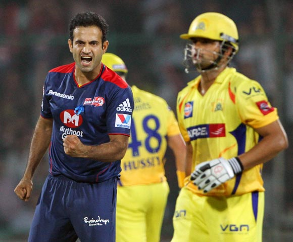 Irfan Pathan celebrates the dismissal of Raina