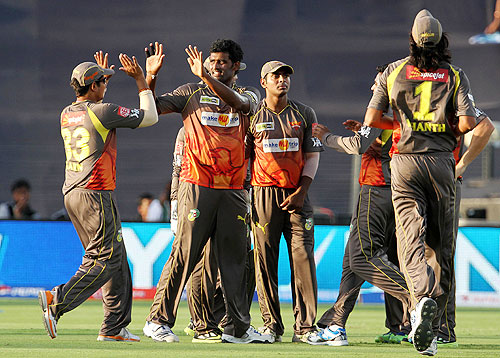Players of Hyderabad Sunrisers celebrate a wicket
