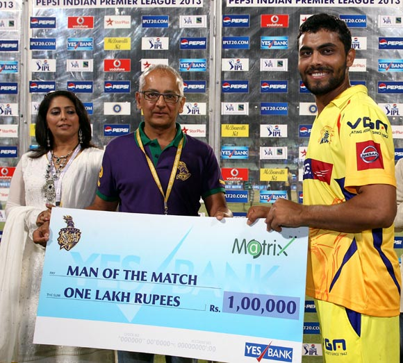 Ravindra Jadeja gets the man of the match award