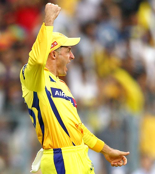 Michael Hussey celebrates after taking the catch of Gautam Gambhir