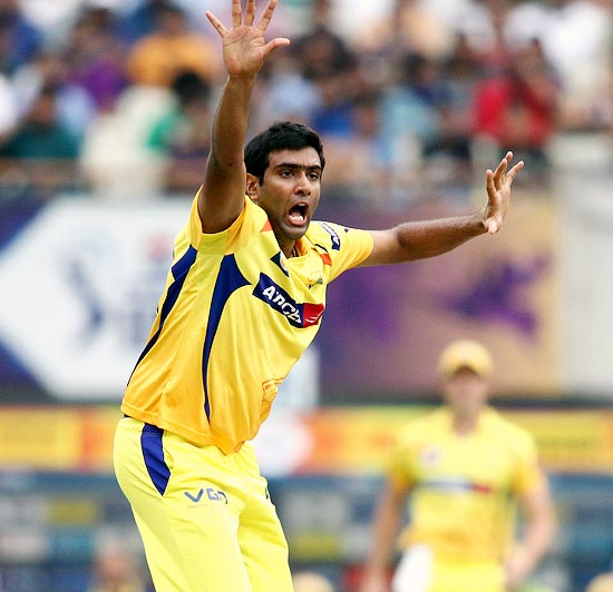 Ravichandran Ashwin appeals successfully for the wicket of Debabrata Das
