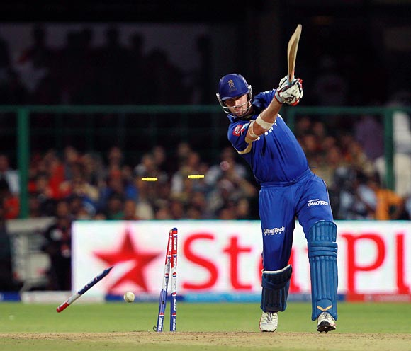 Shaun Tait is bowled by RP Singh