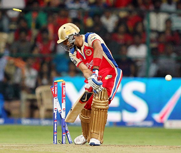 Virat Kohli is bowled by James Faulkner
