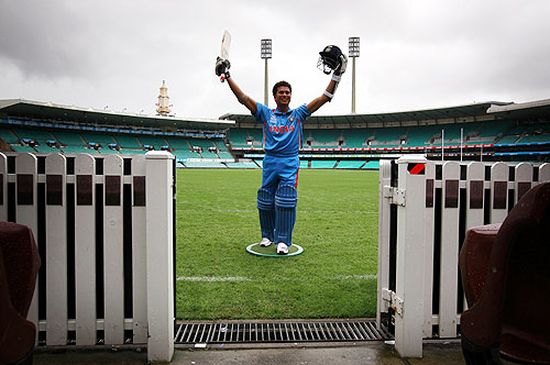 A wax figure of Indian cricketer Sachin Tendulkar stands on the Sydney Cricket Ground during a promotional event for Madame Tussauds wax museum on Saturday. The wax figure will go on permanent display at the museum in Sydney
