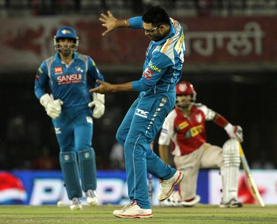 Yuvraj Singh celebrates