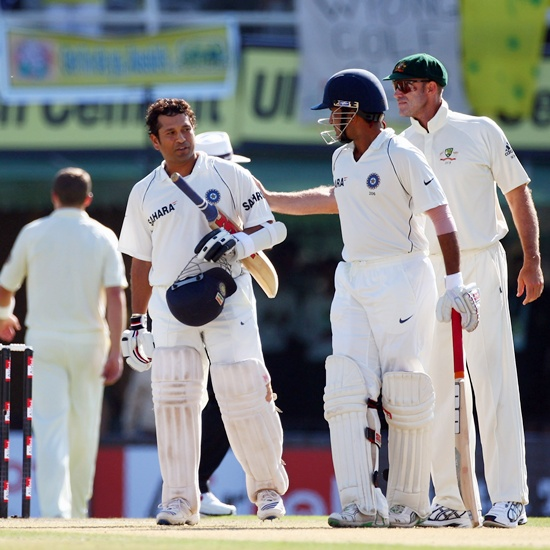 Sachin Tendulkar of India is congratulated by Matthew Hayden of Australia (right)