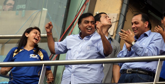 A rare image of Mumbai Indians's Mukesh Ambani celebrating at the Wankhede stadium