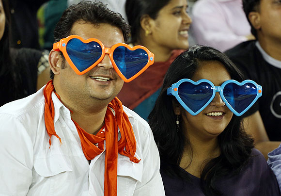Fans in the stands during the match between The Kings XI Punjab and the Pune Warriors in Mohali on Sunday