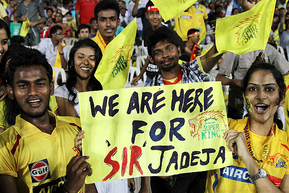 Fans at the match between Chennai and Rajasthan on Monday