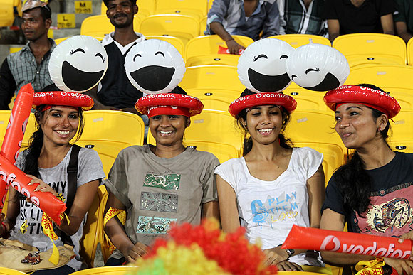 Fans watch the match between Chennai and Rajasthan on Monday