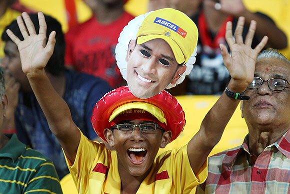 A young fan cheers during the match between Chennai and Rajasthan on Monday