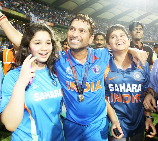 Sachin Tendulkar with daughter Sara and son Arjun
