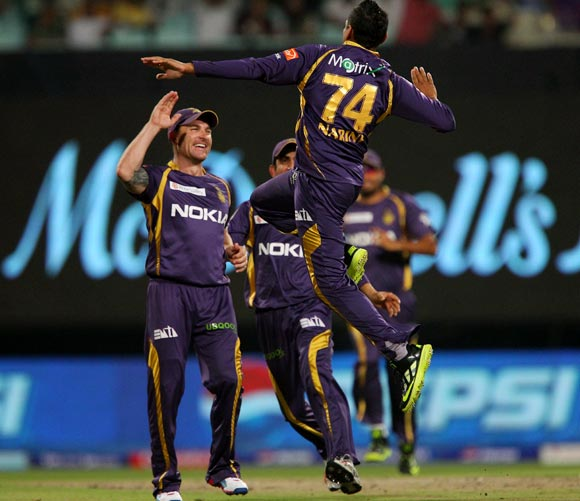 Sunil Narine celebrates the wicket of Sachin Tendulkar