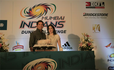 Sachin Tendulkar and wife Anjali during his birthday celebrations organised by Mumbai Indians on Wednesday