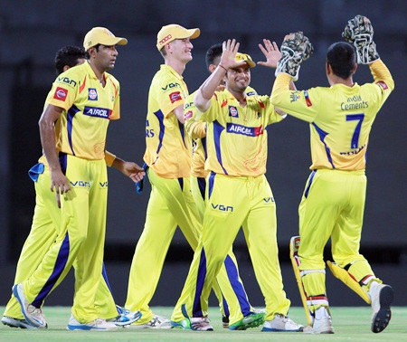 Suresh Raina is congratulated by his Chennai team mates after running out Vihari