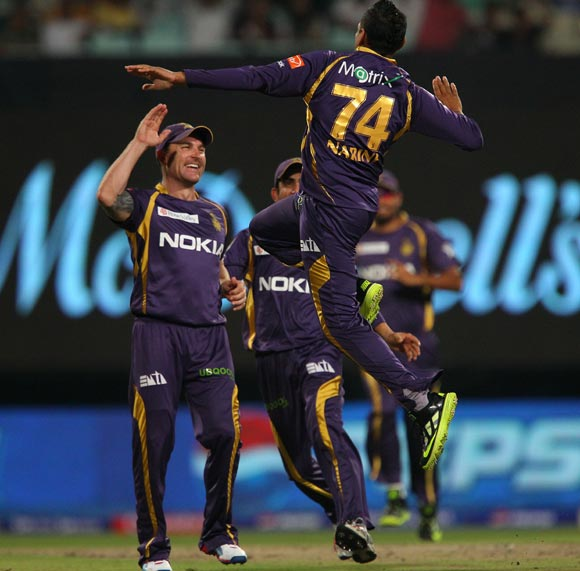 Sunil Narine celebrates after taking the wicket of Sachin Tendulkar