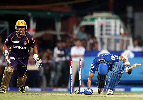Sachin Tendulkar is bowled by Kolkata's Sunil Narine