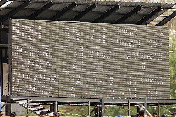 General view of the scoreboard