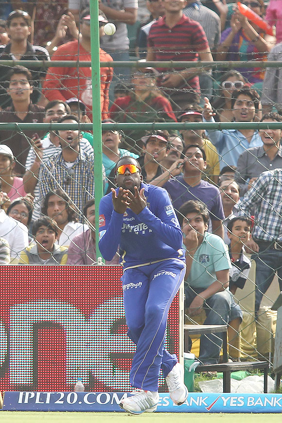 Kevon Cooper of Rajasthan Royals gets under the ball to take the catch to get Thisara Perera of Sunrisers Hyderabad