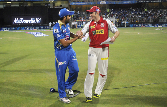Rohit sharma captain of Mumbai Indians and David Hussey captain of Kings XI Punjab during the toss