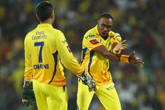 Dwayne Bravo with MS Dhoni
