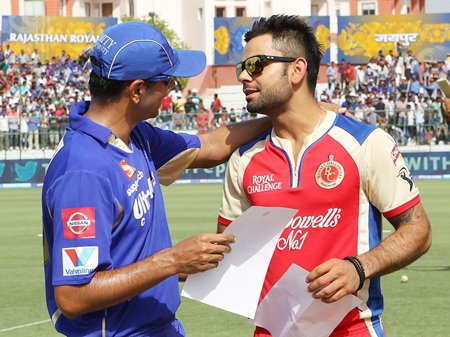 Rival captains Rahul Dravid and Virat Kohil at the toss