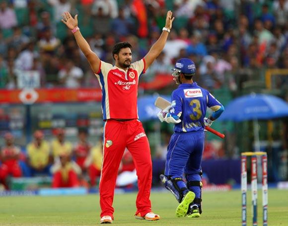 Ravi Rampaul celebrates the wicket of Ajinkya Rahane