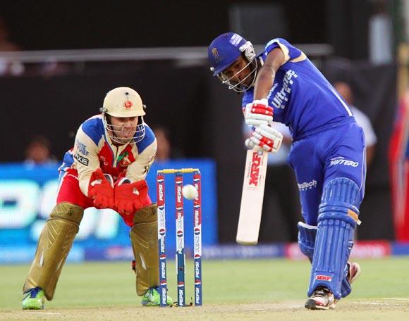 Sanju Samson hits a shot
