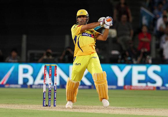 Chennai Super King captain MS Dhoni plays a shot