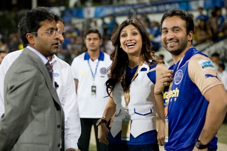 Lalit Modi with Shilpa Shetty and Raj Kundra