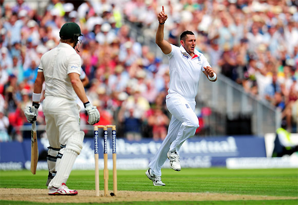Tim Bresnan celebrates after dismissing Shane Watson