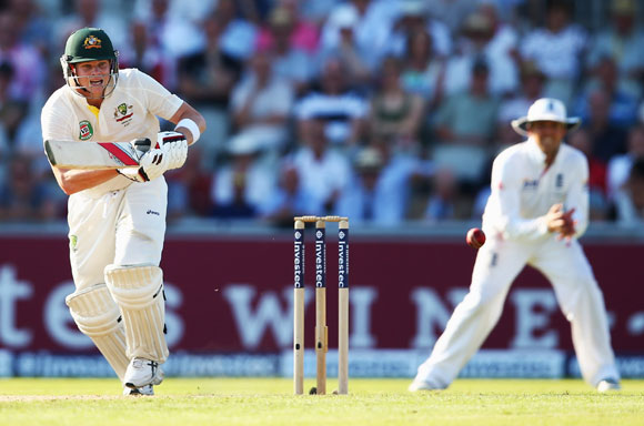 Steve Smith of Australia hits out during day one