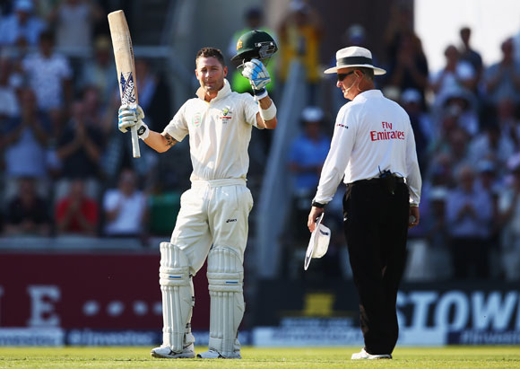 Michael Clarke of Australia celebrates his century