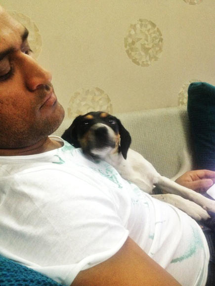 MS Dhoni relaxes with his pet dog