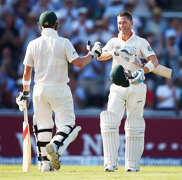 Australia captain Micheal Clarke celebrates scoring a century against England in the third Ashes Test on Thursday