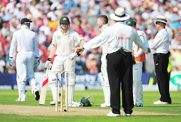 Umpire Marais Erasmus gives Steve Smith of Australia not out after it was referred to the third umpire