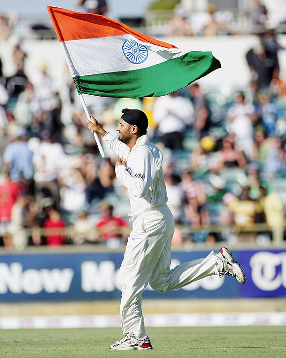 Indian 12th man Harbhajan Singh runs onto the field to celebrate India's 72 run win over Australia after day four of the Third Test between Australia and India at the WACA on January 19, 2008 in Perth, Australia