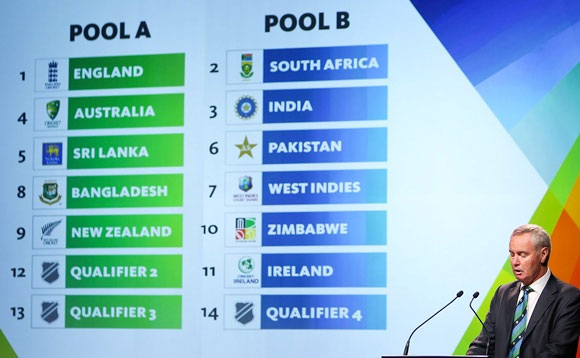 ICC President Alan Isaac announces the pool draws