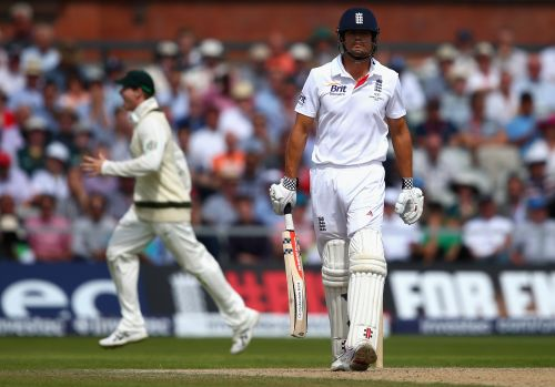 Alastair Cook of England looks dejected after being dismissed by Mitchell Starc