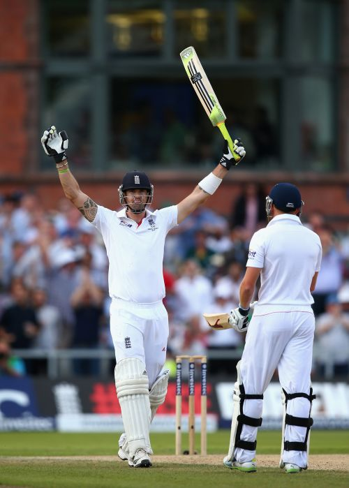 Kevin Pietersen of England celebrates after reaching his century