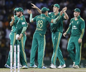 South Africa players celebrate after victory