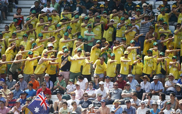 Australia fans signal a four against England